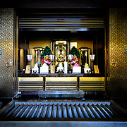 A small shrine at the rear of the Great Main Hall. The Narita-san temple, also known as Shinsho-Ji (New Victory Temple), is Shingon Buddhist temple complex, was first established 940 in the Japanese city of Narita, east of Tokyo.