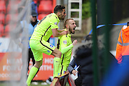 Jiri Skalak of Brighton & Hove Albion (R) celebrates after scoring his sides 2nd goal to make it 1-2 with Sam Baldock of Brighton & Hove Albion. .Skybet football league championship match, Charlton Athletic v Brighton & Hove Albion at The Valley  in London on Saturday 23rd April 2016.