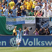 Lionel Messi, Argentina, celebrates after scoring his second goal during the Brazil V Argentina International Football Friendly match at MetLife Stadium, East Rutherford, New Jersey, USA. 9th June 2012. Photo Tim Clayton