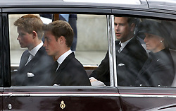 File photo dated 09/04/02 of Prince Harry, Prince William, the Earl of Wessex and the Countess of Wessex leaving Westminster Abbey following the funeral of Queen Elizabeth the Queen Mother. The Queen mother's funeral was the last royal funeral to be extensively televised in the UK. Issue date: Friday April 16, 2021.