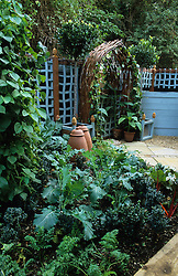 Raised vegetable bed. Mirrored woven willow archway with a pair of standard bay trees