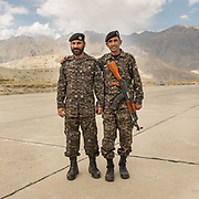 Army personnel at the Airport  in Skardu town, Baltistan region.