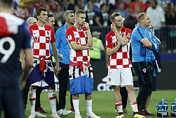 (L-R) Mario Mandzukic of Croatia, Filip Bradaric of Croatia, Ivan Rakitic of Croatia during the 2018 FIFA World Cup Russia Final match between France and Croatia at the Luzhniki Stadium on July 15, 2018 in Moscow, Russia