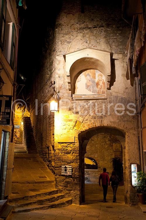 Streets at night, Portovenere, Italy.