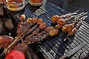 """""""Anticuchos"""" traditional peruvian food prepared with the heart of the cow or bull and then grilled with local condiments."""