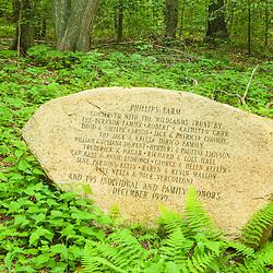 The monument dedicating the conservation of Phillips Farm in Marshfield, Massachusetts.