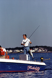 """United States President George H.W. Bush goes fishing from his boat """"Fidelity"""" at his summer vacation home in Kennebunkport, Maine, ME, USA, on August 8, 1991. Photo by David Valdez / White House via CNP/ABACAPRESS.COM"""
