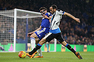 Cesar Azpilicueta of Chelsea tackles Andros Townsend of Newcastle United. Barclays Premier league match, Chelsea v Newcastle Utd at Stamford Bridge in London on Saturday 13th February 2016.<br /> pic by John Patrick Fletcher, Andrew Orchard sports photography.