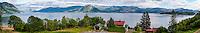 Norway, Øystese. Hardangerfjord. Stitched panorama.