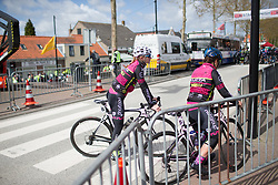 Alice Sharpe (GBR) of the NCC Group-Kuota-Torelli team rides back from the sign-on before the Omloop van Borsele - a 107.1 km road race, starting and finishing in s'-Heerenhoek on April 22, 2017, in Borsele, the Netherlands.