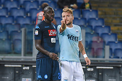 September 20, 2017 - Rome, Italy - Kalidou Koulibaly and Ciro Immobile during the Italian Serie A football match S.S. Lazio vs S.S.C. Napoli at the Olympic Stadium in Rome, september on 21, 2017. (Credit Image: © Silvia Lore/NurPhoto via ZUMA Press)