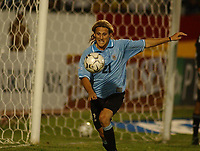 Fotball<br />19/11/03 - WORLD CUP QUALIFYING 2006<br />BRASIL (3) VS. URUGUAY (3) - Curitiba - Brasil.<br />A World Cup Qualifying match played between the National football team of Brasil and Uruguay in Curitiba, Brasil. <br />Diego Forlan (Uruguay)<br />Foto: Digitalsport
