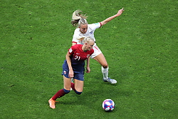 Norway's Karina Saevik (left) and England's Toni Duggan battle for the ball during the FIFA Women's World Cup, Quarter Final, at Stade Oceane, Le Havre, France.