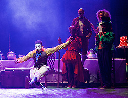 The Mad Hatter's Tea Party <br /> by Zoo Nation<br /> directed by Kate Prince<br /> presented by Zoo Nation, The Roundhouse & The Royal Opera House<br /> at The Roundhouse, London, Great Britain <br /> rehearsal <br /> 29th December 2016 <br /> <br /> <br /> <br /> Jaith Betote as The White Rabbit <br /> <br /> Photograph by Elliott Franks <br /> Image licensed to Elliott Franks Photography Services