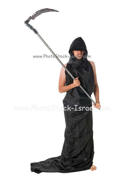 male grim reaper On white Background