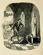 The Death of  Robert Catesby From the book ' Guy Fawkes; or, The gunpowder treason. An historical romance ' by William Harrison Ainsworth, with illustrations on steel by  George Cruikshank. Published in London, by George Routledge and sons, limited in 1841. Guy Fawkes (13 April 1570 – 31 January 1606), also known as Guido Fawkes while fighting for the Spanish, was a member of a group of provincial English Catholics who was involved in the failed Gunpowder Plot of 1605. He was born and educated in York; his father died when Fawkes was eight years old, after which his mother married a recusant Catholic.