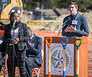 Kaleigh Davis and Chance Bednorz give a presentation during a groundbreaking ceremony for the new Energy Institute High School, November 19, 2016.
