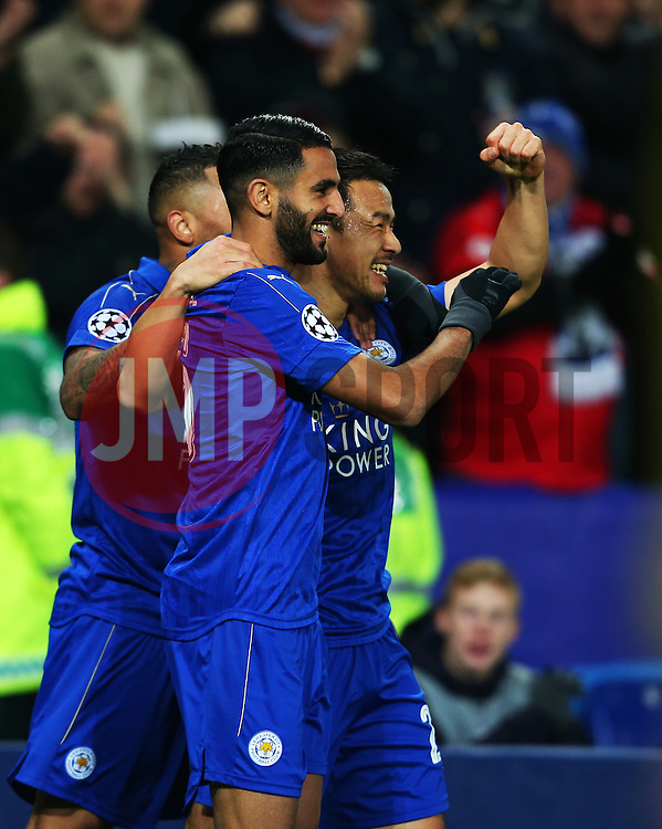 Shinji Okazaki of Leicester City celebrates with Riyad Mahrez and Danny Simpson after scoring the first goal - Mandatory by-line: Matt McNulty/JMP - 22/11/2016 - FOOTBALL - King Power Stadium - Leicester, England - Leicester City v Club Brugge - UEFA Champions League