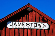 Jamestown sign on train station at Railtown 1897 State Historic Park, Gold Country (Highway 49), California