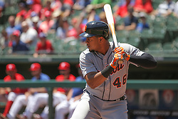 May 9, 2018 - Arlington, TX, U.S. - ARLINGTON, TX - MAY 09: Detroit Tigers third baseman Jeimer Candelario (46) stands at the plate during the game between the Detroit Tigers and the Texas Rangers on May 9, 2018 at Globe Life Park in Arlington, TX. (Photo by George Walker/Icon Sportswire) (Credit Image: © George Walker/Icon SMI via ZUMA Press)