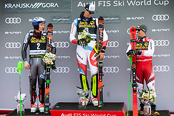 Second placed KRISTOFFERSEN Henrik of Norway, winner ZENHAEUSERN Ramon of Switzerland and third placed MATT Michael of Austria celebrate at trophy ceremony after the Audi FIS Alpine Ski World Cup Men's Slalom 58th Vitranc Cup 2019 on March 10, 2019 in Podkoren, Kranjska Gora, Slovenia. Photo by Matic Ritonja / Sportida