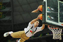 Artist performs during basketball match between National Teams of Slovenia and Dominican Republic in Eight-finals of FIBA Basketball World Cup Spain 2014, on September 6, 2014 in Palau Sant Jordi, Barcelona, Spain. Photo by Tom Luksys  / Sportida.com <br /> ONLY FOR Slovenia, France