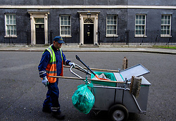 © Licensed to London News Pictures. 30/03/2017. London, UK. A Westminster Council street cleaner seen on Downing Street on March 30, 2017 Photo credit: Ben Cawthra/LNP