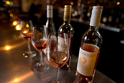 The Pretty in Pink rose flight, at Pour Wine Bar and Bistro, in the Montclair district of Oakland, Calif., Wednesday, Dec. 23, 2015. (Photo by D. Ross Cameron)