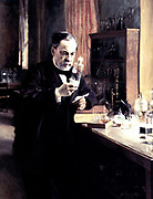 Louis Pasteur' (1822-1895) French chemist and biologist at work in his laboratory c1889. Pioneer of inoculation against hydrophobia. Albert Edelfelt (1854-1905) French. Painting. Oil on canvas.  Musee d'Orsay, Paris.