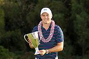January 10 2016: Jordan Spieth Hyundai Tournament of Champions winner at Kapalua Plantation Course on Maui, HI. (Photo by Aric Becker)
