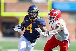 Sep 4, 2021; College Park, Maryland, USA; West Virginia Mountaineers running back Leddie Brown (4) catches a pass and runs for a touchdown during the first quarter against the Maryland Terrapins at Capital One Field at Maryland Stadium. Mandatory Credit: Ben Queen-USA TODAY Sports