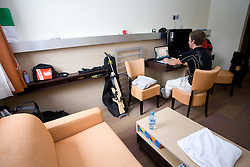 Peter Dokl resting in his room in Hotel Center after the training session of Slovenian biathlon team before new season 2009/2010,  on November 16, 2009, in Pokljuka, Slovenia.   (Photo by Vid Ponikvar / Sportida)