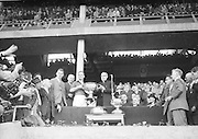 Archbishop of Cashel presents the Sam Maguire to Down Captain K. Mussen after their win at the All Ireland Senior Gaelic Football Final Kerry v Down in Croke Park on the 22nd September 1960. Down 2-10 Kerry 0-8.