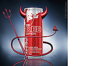 Stay up to no good for Devil's Night! 3D Modeling and Photoshop compositing with supplied product shot for Red Bull Twitter.