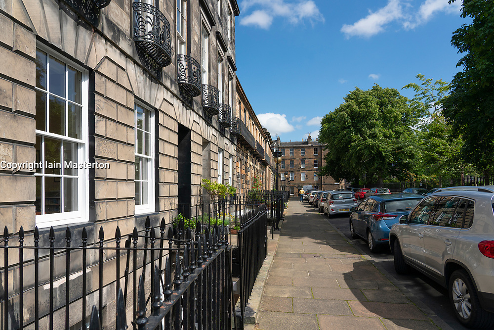 View of Saxe Coburg Place in Stockbridge, Edinburgh, Scotland, UK