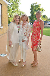 Left to right, JO MILLER, ADRIANNA COOK and DEBBIE LENG at a summer drinks party hosted by Bec Astley Clarke at the Serpentine Sackler Gallery, Hyde Park, London on 17th June 2014.