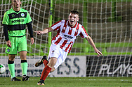 Cheltenham Towns Aaron Basford (57)  scores a goal 1-3 and celebrates during the FA Youth Cup match between U18 Forest Green Rovers and U18 Cheltenham Town at the New Lawn, Forest Green, United Kingdom on 29 October 2018.
