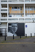 A black and white wall mural of the famous American professional boxer Muhammad Ali at Loughborough Estate on the 23rd May 2019 in London in the United Kingdom.