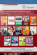 Nederland, the Netherlands, Nijmegen, 21-2-2018 Vierkiezingsborden voor de gemeenteraadsverkiezingen die 21 maart gehouden worden . De affiches worden in een geheel op een voorbedrukt paneel van Bordbusters gepresenteerd .Foto: Flip Franssen