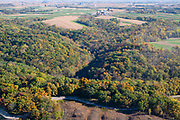 Aerial image over Nelson Dewey State Park, Cassville, Grant County, Wisconsin on a beautiful morning.