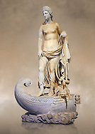 Statue of Thetsis - a 2nd century AD Roman statue found in the city of Lavinia, Italy. Thetis (/ˈθɛtɪs/; Ancient Greek: Θέτις, [tʰétis]), is encountered in Greek mythology mostly as a sea nymph or known as the goddess of water, one of the fifty Nereids, daughters of the ancient sea god Nereus. he statue belonged to a set of ten divinities formerly presented in the portico hemicycle of the city. The Albani Collection Inv No. LL 19 (Usual No Ma 2244), Louvre Museum, Paris. .<br /> <br /> If you prefer to buy from our ALAMY STOCK LIBRARY page at https://www.alamy.com/portfolio/paul-williams-funkystock/greco-roman-sculptures.html- Type -    Louvre    - into LOWER SEARCH WITHIN GALLERY box - Refine search by adding a subject, place, background colour,etc.<br /> <br /> Visit our CLASSICAL WORLD HISTORIC SITES PHOTO COLLECTIONS for more photos to download or buy as wall art prints https://funkystock.photoshelter.com/gallery-collection/The-Romans-Art-Artefacts-Antiquities-Historic-Sites-Pictures-Images/C0000r2uLJJo9_s0c