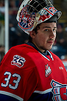 KELOWNA, BC - JANUARY 31: Lukáš Pařík #33 of the Spokane Chiefs stands at the bench during a time out against the Kelowna Rockets at Prospera Place on January 31, 2020 in Kelowna, Canada. Pařík is a 2019 NHL entry draft pick of the Los Angeles Kings. (Photo by Marissa Baecker/Shoot the Breeze)