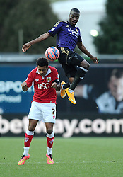West Ham's Enner Valencia battles for the high ball with Bristol City's Korey Smith  - Photo mandatory by-line: Joe Meredith/JMP - Mobile: 07966 386802 - 25/01/2015 - SPORT - Football - Bristol - Ashton Gate - Bristol City v West Ham United - FA Cup Fourth Round