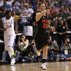Mar 17, 2011; Tampa, FL, USA; Princeton Tigers guard Dan Mavraides (33) reacts after hitting a shot during first half of the second round of the 2011 NCAA men's basketball tournament against the Kentucky Wildcats at the St. Pete Times Forum.  Mandatory Credit: Derick E. Hingle