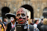 One of 2000 Goules who took part in the Zombie Walk through Paris, 8th October 2016, Paris, France. The walk went from Place de la Republique and finished at Place des Vosges. The event, an apocalyptic parade through Paris's historic downtown. Zombie walks as annual traditions are now relatively common in large cities, especially in North America.