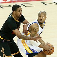 04 June 2017: Cleveland Cavaliers forward Channing Frye (8) defends on Golden State Warriors forward David West (3) during the Golden State Warriors 132-113 victory over the Cleveland Cavaliers, in game 2 of the 2017 NBA Finals, at the Oracle Arena, Oakland, California, USA.
