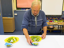 © Licensed to London News Pictures.04/08/15<br /> Egton, UK. <br /> <br /> <br /> One of the organisers lays out entries onto a table for members of the public to see during the annual Egton Gooseberry Show. <br /> There are only two Gooseberry societies left in the country. One in Cheshire and one at Egton in North Yorkshire. The annual show in Egton uses traditional Avoridupois scales to measure the weight of the berries and members of the society are fanatical about trying to grow the best berries each year. <br /> <br /> Photo credit : Ian Forsyth/LNP