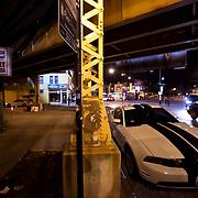 Logan Square neighborhood street scene, Chicago, Califonia & Milwaukee Avenues.