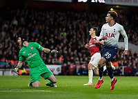 Football - 2018 / 2019 EFL Carabao Cup (League Cup) - Quarter-Final: Arsenal vs. Tottenham Hotspur<br /> <br /> Dele Alli (Tottenham FC) and Petr Cech (Arsenal FC) look on as his lifted shot rolls into the Arsenal goal at The Emirates.<br /> <br /> COLORSPORT/DANIEL BEARHAM