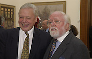 Sir David Attenborough and Lord Richard Attenborough. The Queen's celebration of the Arts. Royal Academy. 16 May 2002. © Copyright Photograph by Dafydd Jones 66 Stockwell Park Rd. London SW9 0DA Tel 020 7733 0108 www.dafjones.com